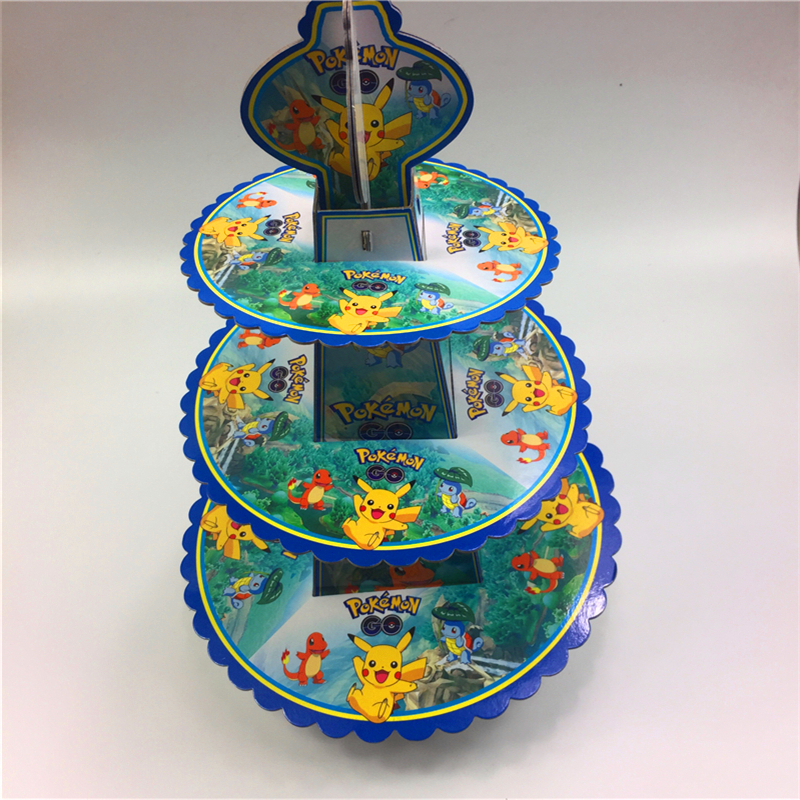 Pokemon Go Pikachu 3tier cake stand baby shower supplies kids birthday party decoration cupcake stand hold 24 cupcakes candy bar