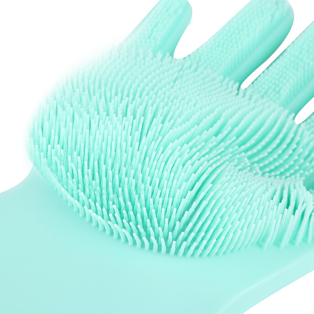 1Pcs Silicone Dishes Washing Glove With Scrubbers And Cleaning Brush For Kitchen 18