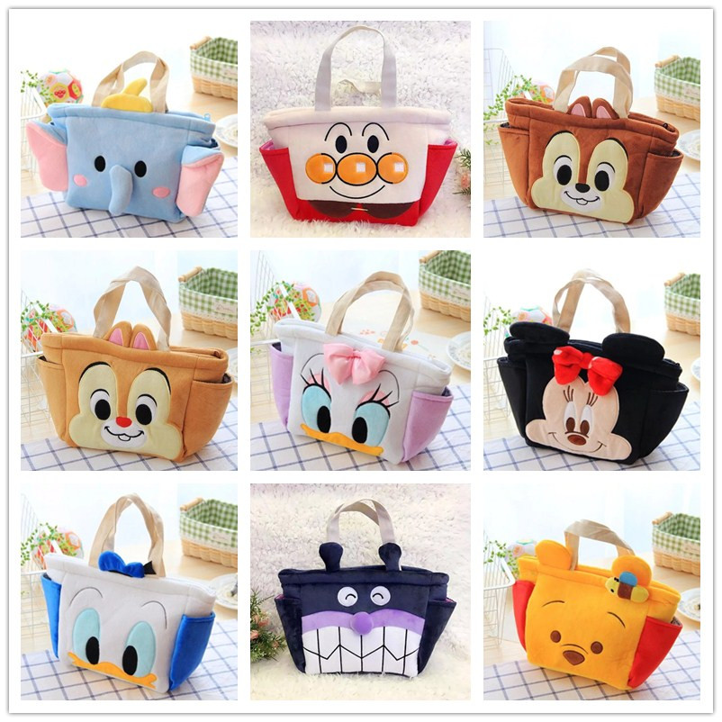 Ivyye 1pcs Mickey Anpanman Fashion Portable Plush Lunch Bags Cartoon Picnic Bag Food Box Tote Storage For Women Girls Kids New Functional Bags Lunch Bags
