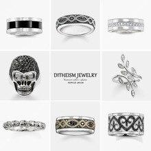 Черный Любовь Узел обручальные кольца, 925 пробы Серебряное кольцо с цирконом Модные украшения модный подарок для женщин и мужчин