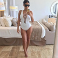Summer 2016 Playsuit Women Sportswear Lace Up white Playsuit Beach High Waist Playsuit One Piece Overalls Plus Size