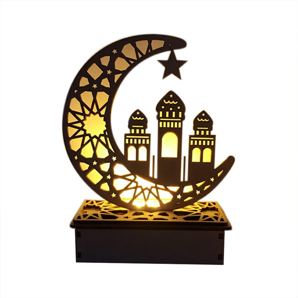 DIY LED Wooden Moon Lamp Led String Light Festival Palace Decorative Lighting For Muslim Islam Eid Mubarak Ramadan