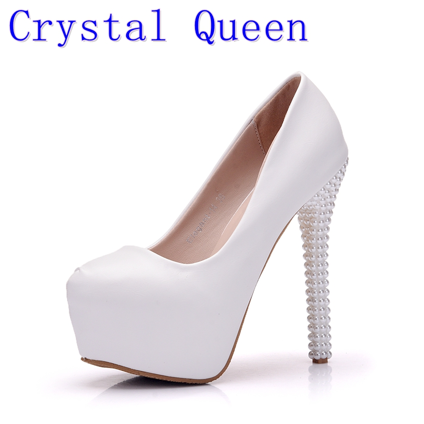 Crystal Queen New Platform Pearl Lace White Wedding Shoes Women Pumps Party Dance Sexy High Heels Bridal Shoes