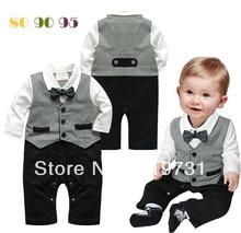 Autumn Boy gentleman vest style long sleeve Rompers high quality Infant cotton romper 3pcs/lot