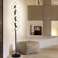 Nowy nowoczesny stół z drewna lampa podłogowa 5 W Led żarówka salon sypialnia badania stoi światła wystrój domu czarny żelaza białe tkaniny 220 V w Lampy podłogowe od Lampy i oświetlenie na