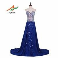Анти халат De Soiree женское вечернее синее платье вечернее платье вечерние элегантные Праздничное Платье длинное выпускное платье 2019 с Crystal