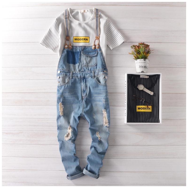 hip hop streetwear swag pants 2017 Spring Autumn Fashion men jean overalls Ripped bib jeans for men Male Ripped denim jumpsuit denim overalls male suspenders front pockets men s ripped jeans casual hole blue bib jeans boyfriend jeans jumpsuit or04