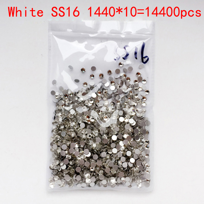 Wholesale Rhinestones New White ss16 14400pcs 4.0mm Crystal Color Non Hotfix Rhinestones For Nails Flatback Nail Art Decorations 2016 new arrive resin diy rhinestones for nail art 2 6mm white ab color nail design glitter decorations flatback non hotfix