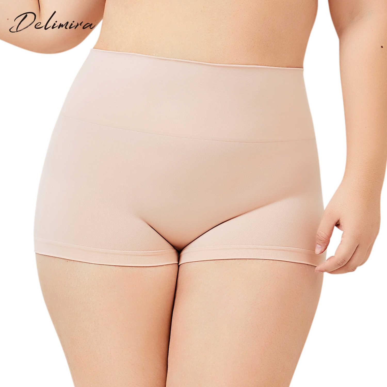 19602a7f33c4 DELIMIRA Women's Plus Size Everyday Seamless Boyshort Tummy Control Shaping  Panties