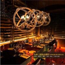 Nordic Retro Desván Cuerda de Cáñamo de La Vendimia De Hierro bola Redonda Colgante de Luz para el Restaurante bar Dormitorio comedor E27 lámpara colgante