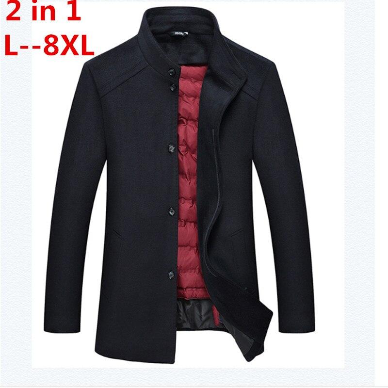 2017 Hiver plus la taille 8XL 7XL 6XL 5XL 4XL Hommes de Vestes De Laine Cachemire Manteau D'affaires Décontractée Laine et Mélanges veste Pardessus
