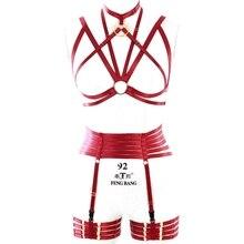 Жгут 1 комплект винно-Красная клетка топ с подвязками ремни для тела ремни для связывания ног портупея в готическом стиле женское белье Женская одежда