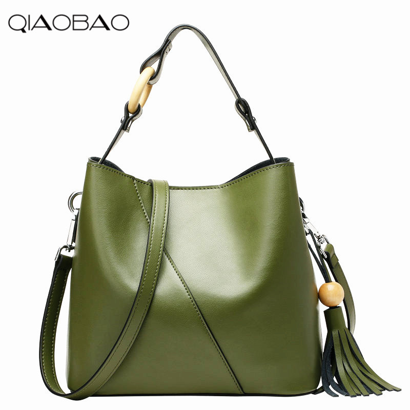 QIAOBAO Cowhide Leather Bag classics shouder bag women genuine leather lady bag ,lady real leather handbag,free shipping genuine leather 2017 new women backpack bag black cowhide real leather bag college student bags for ladies free shipping l6072