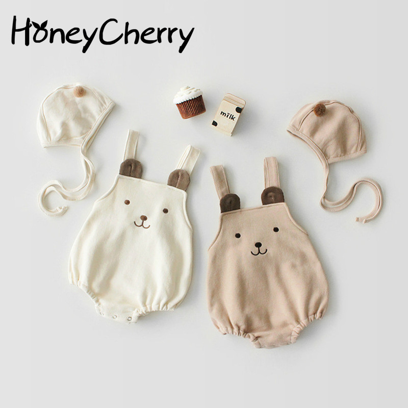 Baby Bodysuits Cute Bear Sleeveless Belt Cotton Hat-jacket + Hat For Infants Young Children Baby Girl Clothes