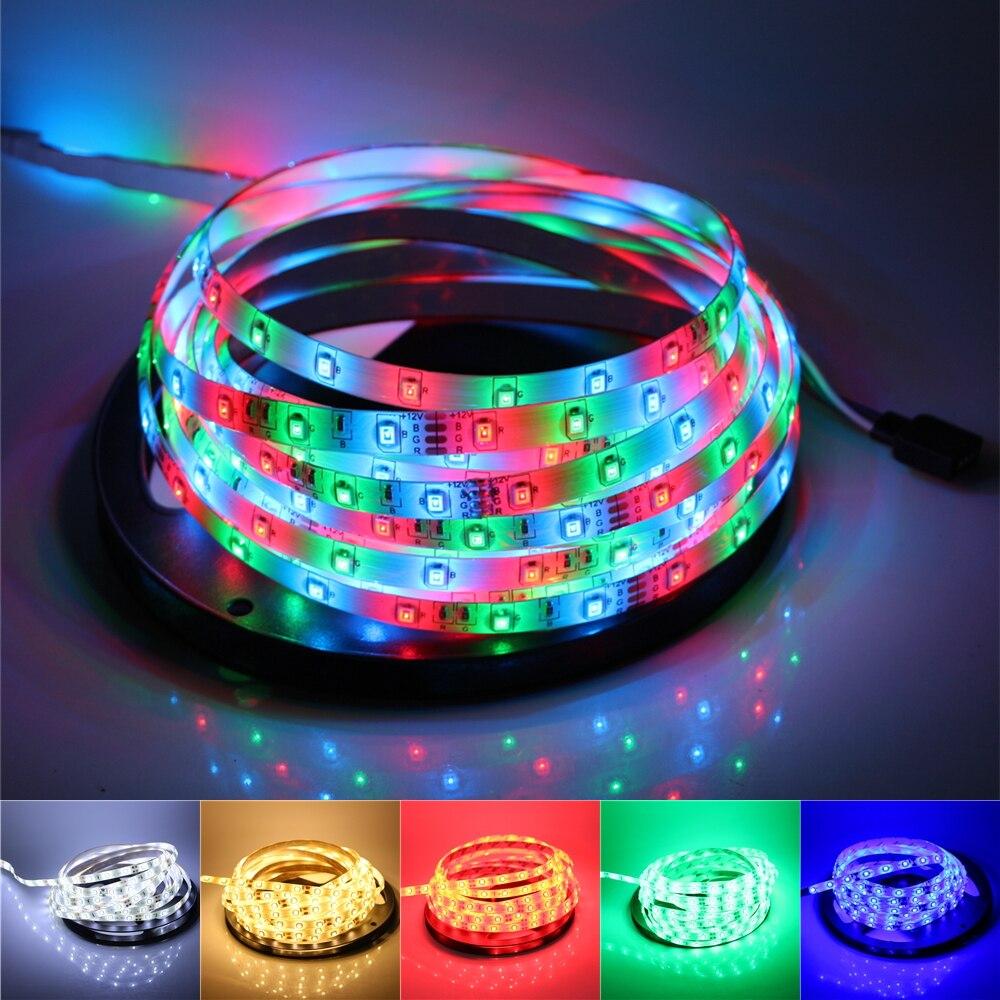 1/2/3/4/5m RGB Led Strip 3528/2835SMD 60Led/m Led Tape Ribbon Light 12V Fita Diode Flexible Led String Stripe Bar Neon Led Lamp