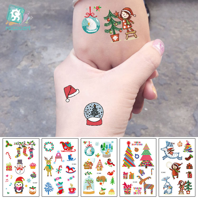EC831-845 New 2019 Cartoon Kids Children Merry Christmas Happy New Year Temporary Tattoo Sticker Body Art Fake Flash Taty Tatoo