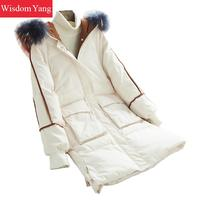Winter Down Elegant Black White Red Coat Raccoon Hair Hooded Warm Womens Overcoat Real Eiderdown Coats Office Ladies Outerwear