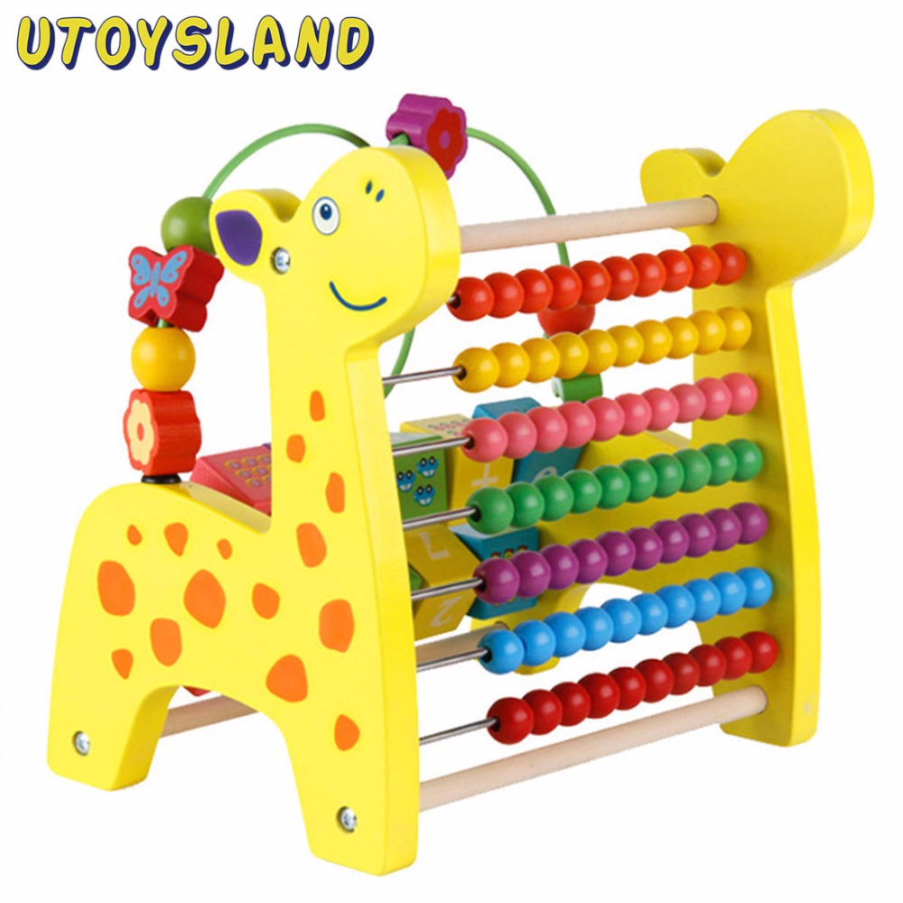 UTOYSLAND Creative Wooden Toy Multi-function Counting Beads Fruit Kids Montessori Educational Toys for Children Gift Colorful colorful multifunction tree wooden beads toys education wooden toys animal fruit beads montessori toy for children