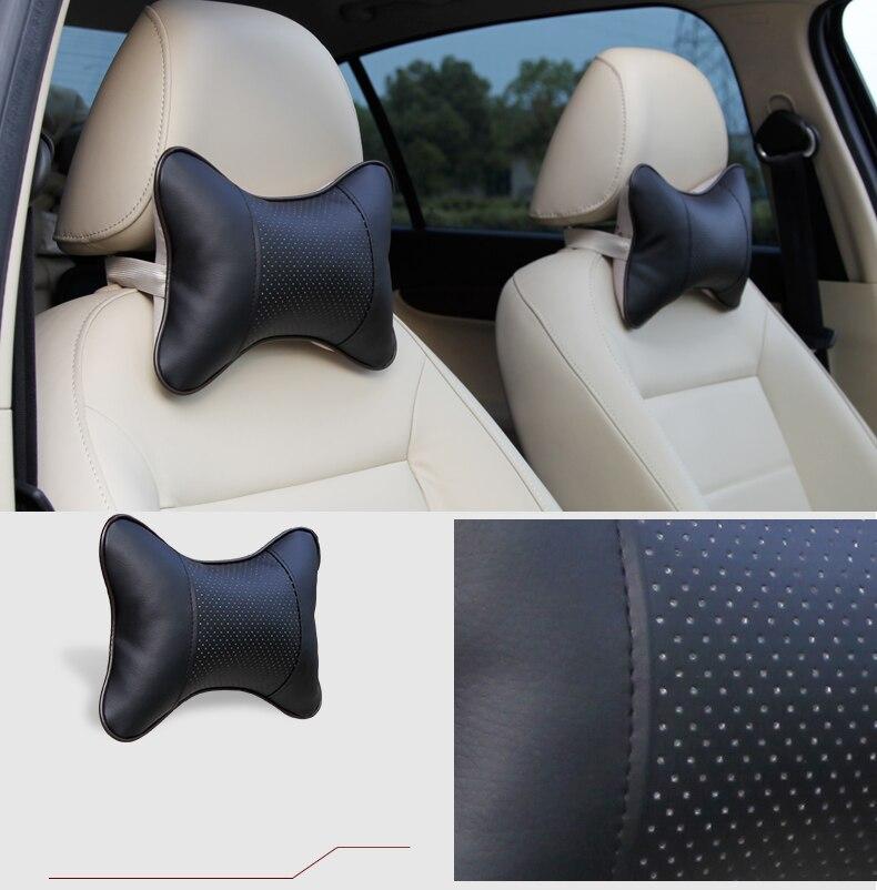 Karcle 2 PCS usnjene blazine za vrat v vratu vzglavniki dihalne - Dodatki za notranjost avtomobila - Fotografija 2