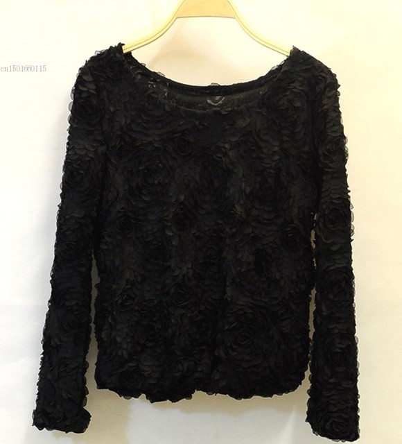 Ladies Casual Short Pullover Sweaters Women 3d Flowers Sweater ...