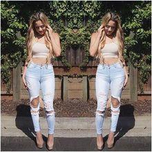 2016 горячая распродажа сексуальные фантазии отверстие тонкий джинсы стрейч ностальгические ноги джинсовые брюки оптовая продажа