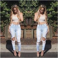 2016 Hot Sell Sexy Fancy Hole Slim Jeans Stretch Nostalgic Feet Denim Trousers Pants Wholesale