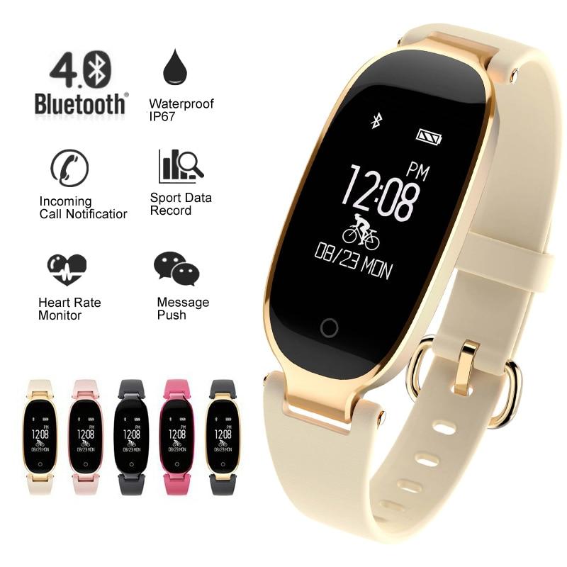 Del diseño S3 inteligente reloj pulsera inteligente relojes Bluetooth Monitor de ritmo cardíaco rastreador de ejercicios para Android IOS reloj de mujer