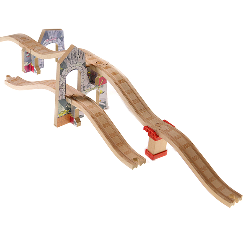 p117 Unique cave viaduct Wooden track accessories are compatible with wooden Thomas train tracks Children track game scene toys
