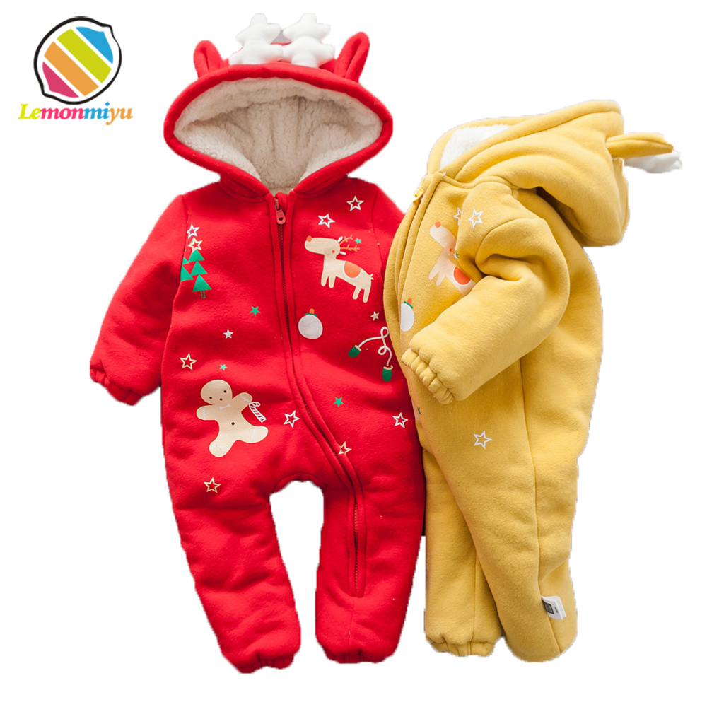 Christmas Dear Party baby Boys Rompers Winter Warm Cotton Padded Jacket for Girls Cute Fur Velvet Hooded Coats Jumpsuits Clothes cotton baby rompers set newborn clothes baby clothing boys girls cartoon jumpsuits long sleeve overalls coveralls autumn winter
