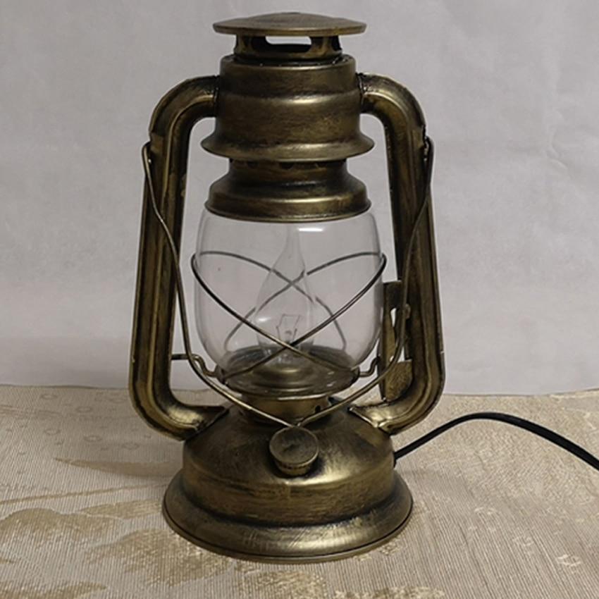 Nostalgic kerosene lantern table lamp,antique copper color ...
