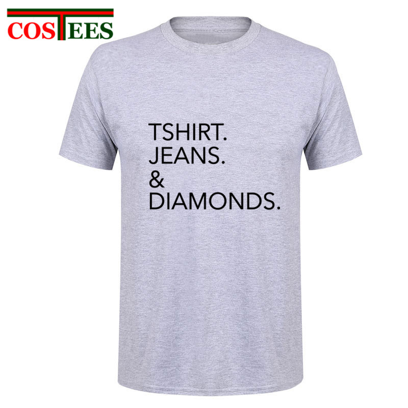 Original Designer Tshirt Jeans & Diamonds Printed T Shirts Men Fashion Man T Shirts Casual brand Clothing Cotton Simple T-shirts
