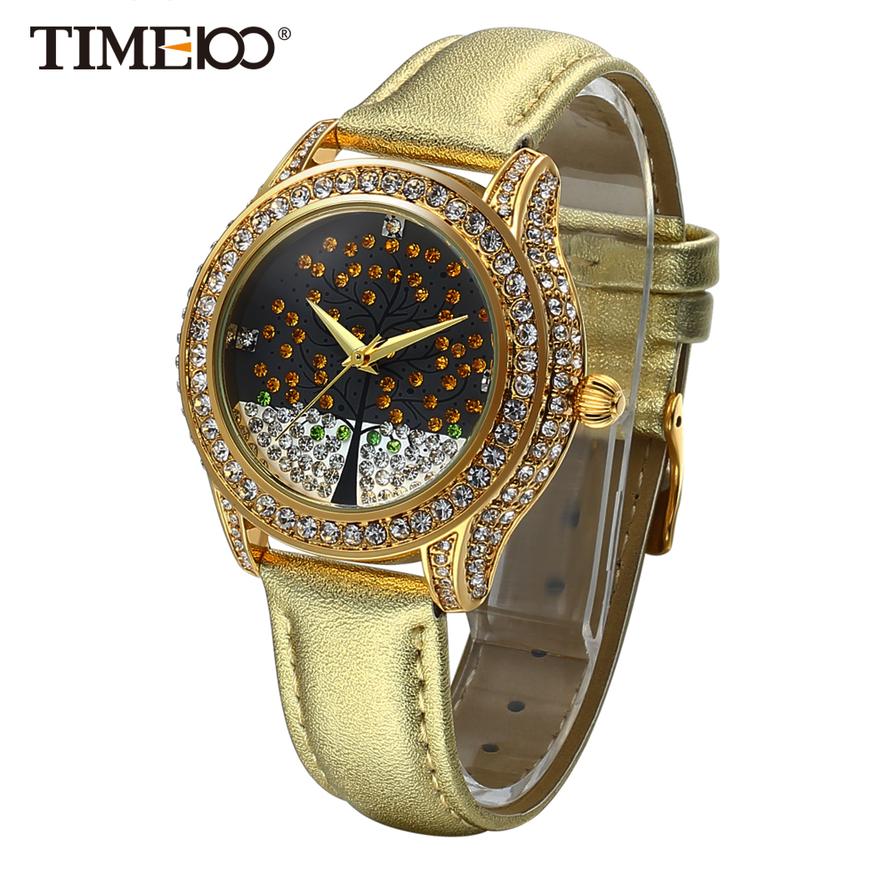 New Time100 Women s Watches Leather Strap Quartz Watches Wishing Tree Ladies Diamond Dress Wrist Watch