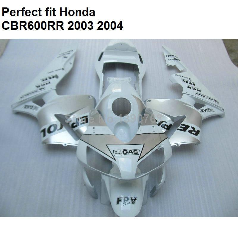 Injection molding fairing for Honda CBR600RR 2003 2004 white fairings kit CBR 600RR F5 03 04