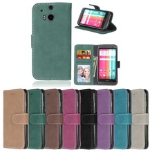 For HTC One M8 Phone Case Retro Frosted Wallet Scrub Stand Flip Leather Cover For HTC