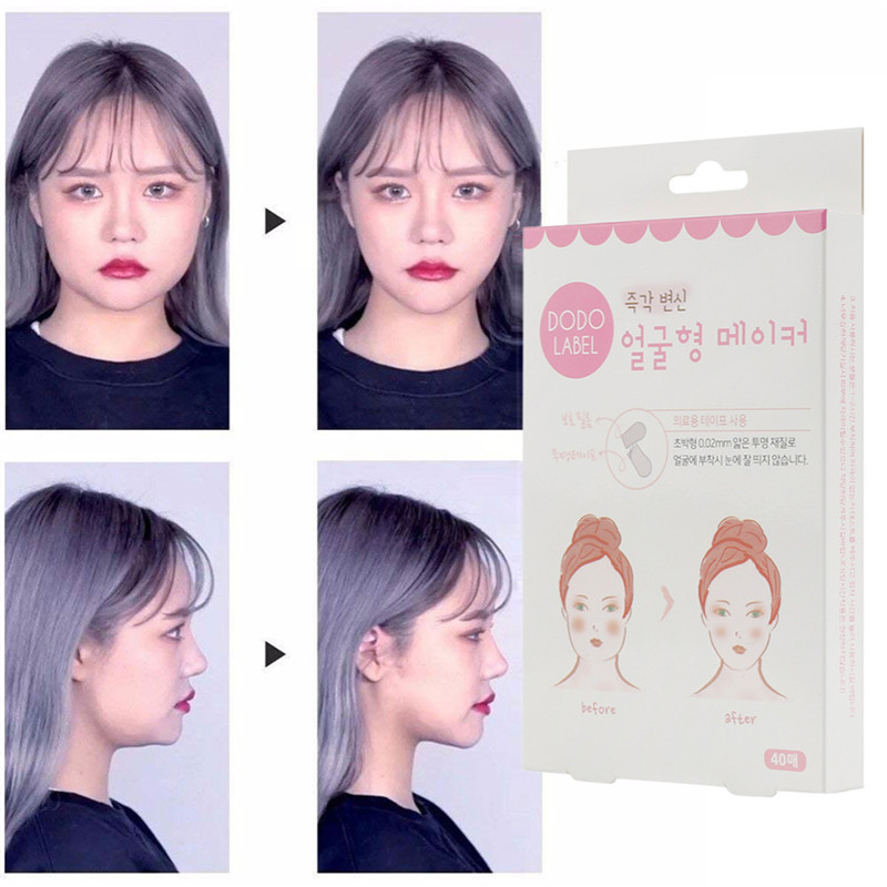 40Pcs/Set V-Shape Face Label Lift Up Fast Chin Adhesive Tape Makeup Face Lift Tools Bloggers use Invisible Waterproof elasticity
