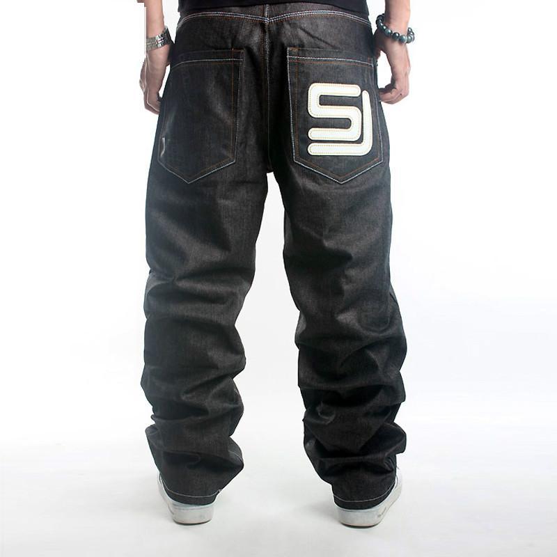 Men's Black Baggy Jeans Hip Hop Designer Brand Skateboard