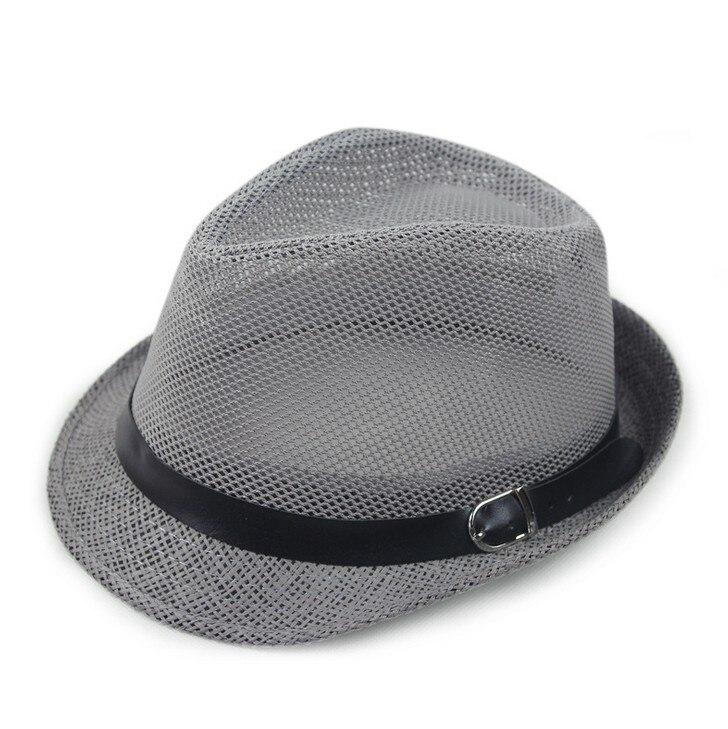 Kagenmo дышащая сетка ремень пряжка летняя соломенная мужская шляпа Корейская пляжная соломенная шляпа женская шляпа солнцезащитный козырек крутая 6 цветов 1 шт - Цвет: A