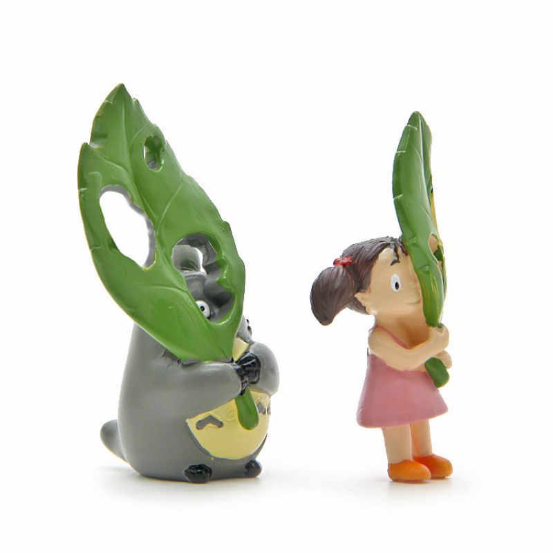 Criativo o Meu Vizinho Totoro Figura de Ação Figuras de Brinquedo DIY Miyazaki Anime Folha Verde Micro Paisagem Jardinagem Brinquedo