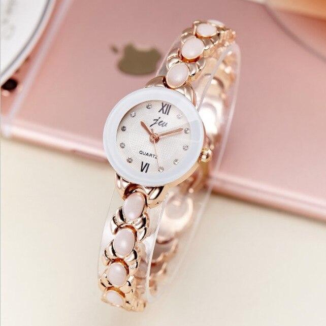 Top Brand JW Rhinestone Bracelet Wrist Watch Women Luxury Rose Gold Quartz Watch Ladies Watch Clock zegarek damski kol saati duoya fashion luxury women gold watches casual bracelet wristwatch fabric rhinestone strap quartz ladies wrist watch clock