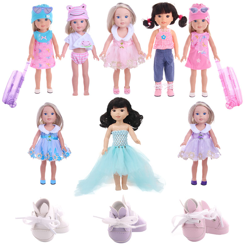 Doll Clothes Dress Rabbit Shoes Cute Suit Luggage  Fit 14.5 Inch American Dolls Wellie Wishers Christmas Toy For Generation