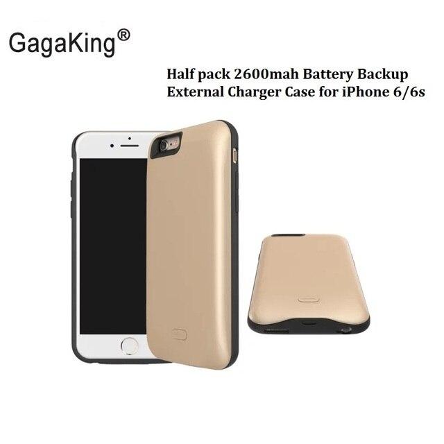 Новый Половина пакет 2600 мАч Батареи Резервного Копирования Внешнее Зарядное Устройство Чехол для iPhone 6 6 s Сотовый Телефон Чехол для iPhone6/6 s Кремния Freeshipping