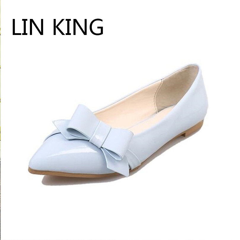 LIN KING Hot Slae Pointed Toe Women Flats Shoes Fashion Slip On Lazy Shoes Sweet Bowtie Shoes Comfortable Pregnant Woman Shoes lin king fashion pu leather women flats shoes round toe loafers comfortable slip on casual shoes solid breathable girl lazy shoe