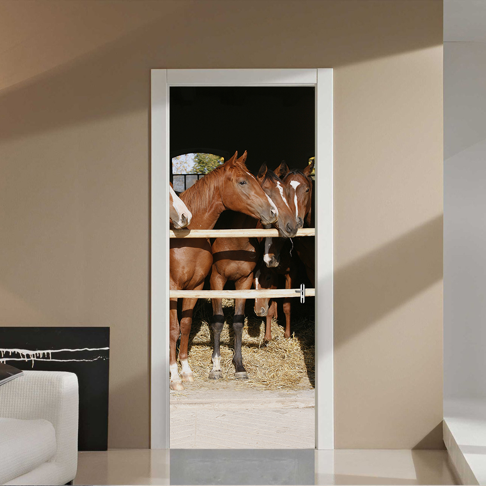US $11.11 11% OFFCreative DIY 11D Door Stickers Horse Stable Pattern for  Room Door Wall Decoration Home Decor Accessories Large Wall  Stickerstickers