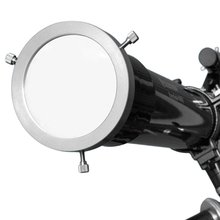 Full Aperture Astronomical Telescope Solar Filter (Silver) – Adjustable Aluminum Baader Solar Cap 105-135mm (4.13″-5.31″)