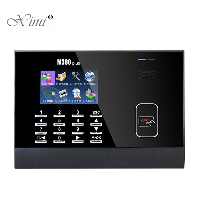 Good Quality 3 Inch Color Screen ZK M300Plus 13.56MHZ MF Card Time Attendance Card Time Recorder Time Clock With IC Card Reader