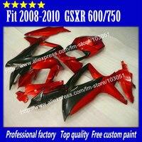 На заказ для 2008 suzuki gsx r 750 Обтекатели 2009 2010 GSXR 600 обтекатель K8 08 09 10 красный матовый черный su75