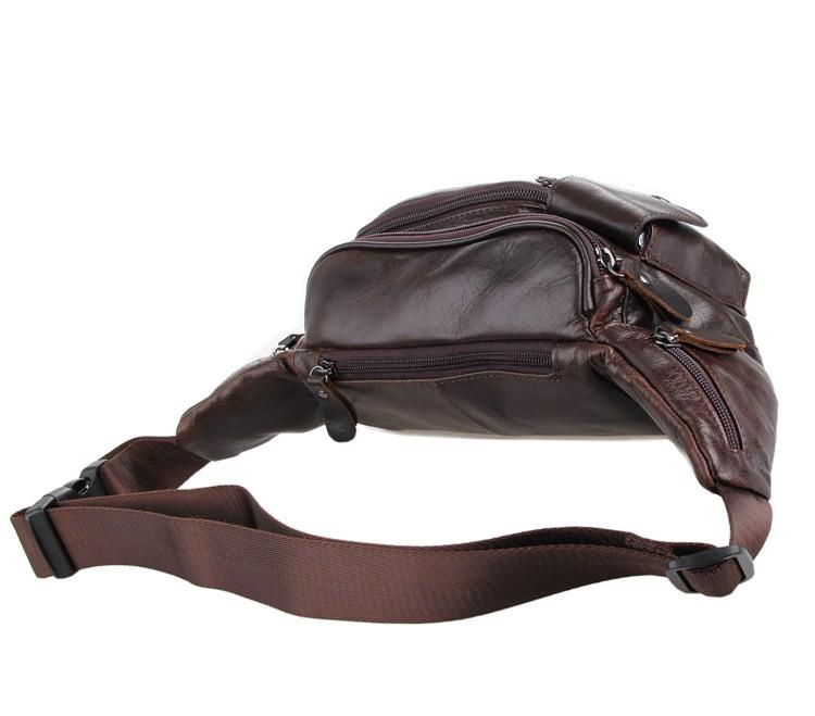 Vintage genuine leather waist packs fanny pack Fashion men small travel bag Pocket sports waist wallet  for men Free shipping (6)