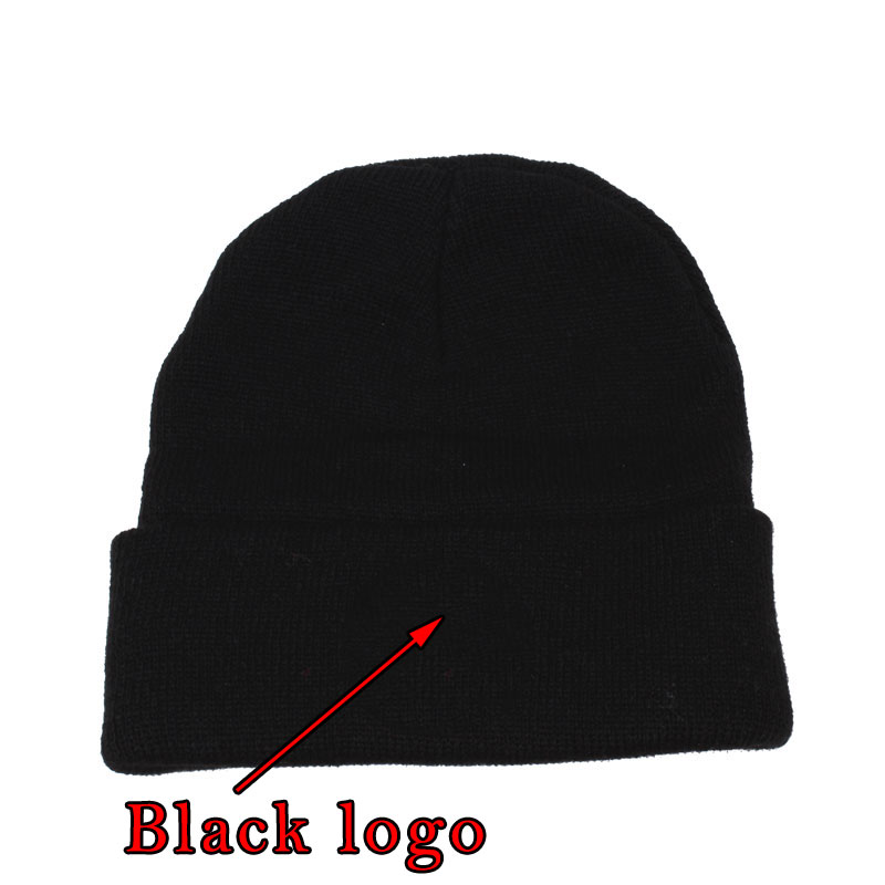 Winter Casual Beanies Wool Caps Knitted Hats Gorros Bonnets Embroid Cross Black Skullies Unisex 2018
