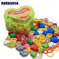 Montessori DIY caixas de amor, brinquedos de madeira, cordas de contas série de brinquedos, 60 PCS de frutas grânulos animais, brinquedos das crianças Brinquedos