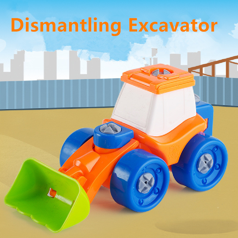 Early Learning Educational DIY Screw Nut Group Installed Dismantling Excavator Model Building Kits Kids Baby Toys Gifts
